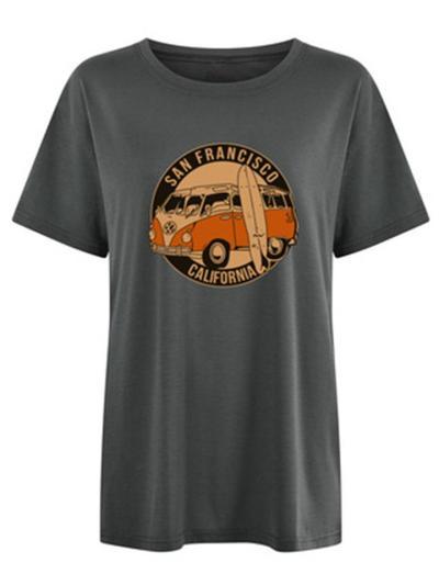CrewNeck Loose Short Sleeved Print T-shirt
