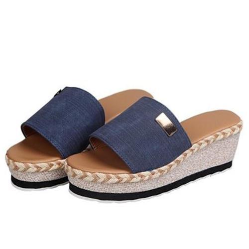 Fashion Peep Toe Wedge Heel Slippers