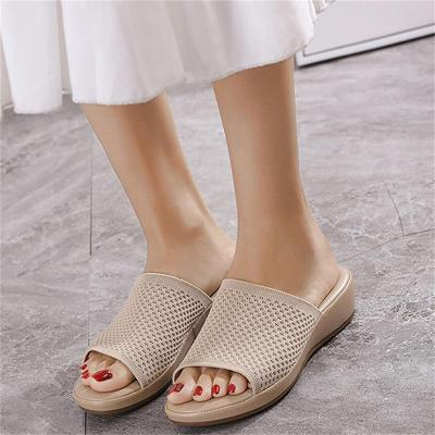 Casual Wedge Heel Soild Color Slippers