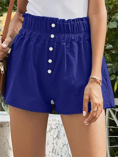Fashion Solid Color Linen Button Pants