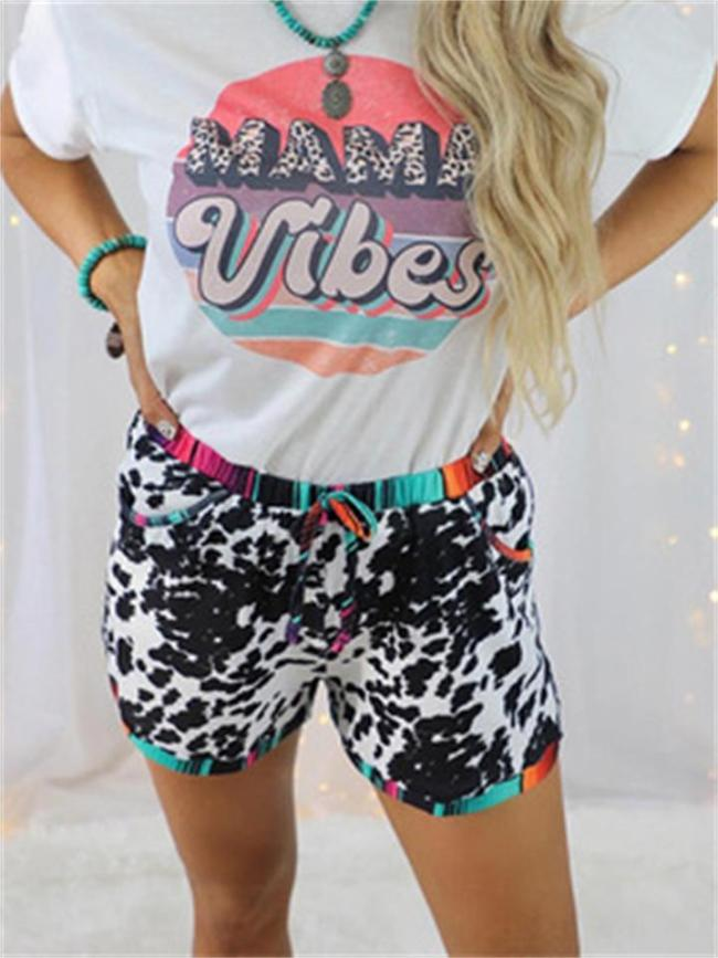 Casual Leopard-Print Bind Up Shorts