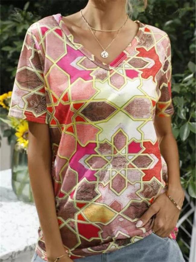 Fashion V-Neck  Floral Print T-Shirt