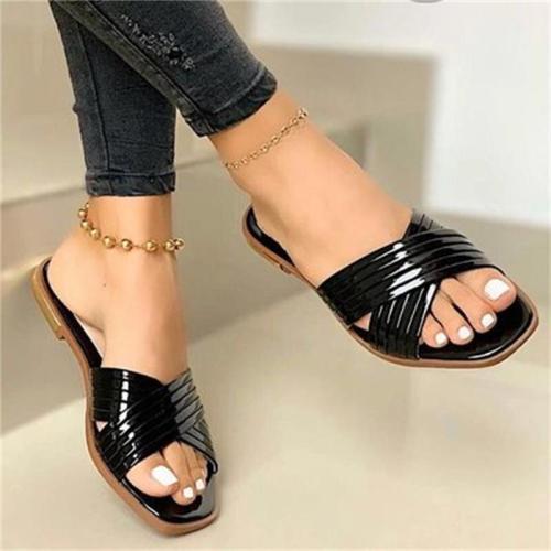 Oversized Flat Heel Open Toe Casual Slippers
