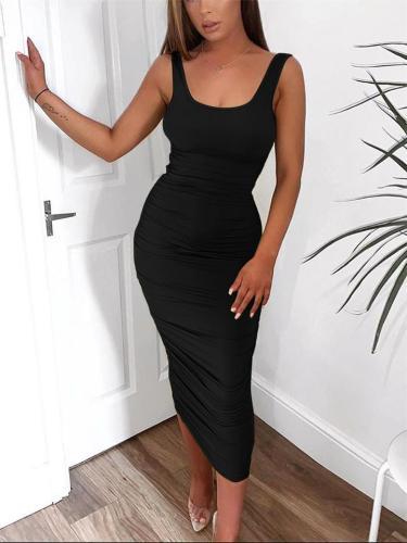 Pure Color Square Neck Sleeveless Slim Body Drape Dress