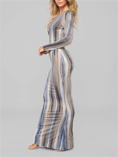 Sexy V-Neck Striped Print Long Sleeve Dress