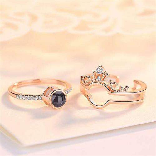100 Languages Love Crown Shaped Detachable Ring