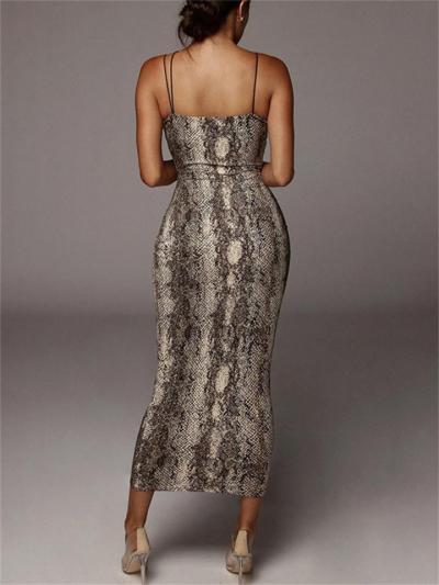 Sexy Strap Sleeveless V-Neck Leopard Print Dress