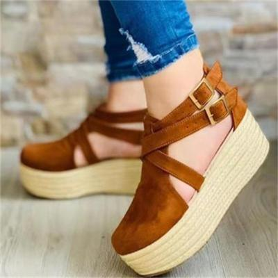 Oversized Wedge Heel Round Toe Sandals