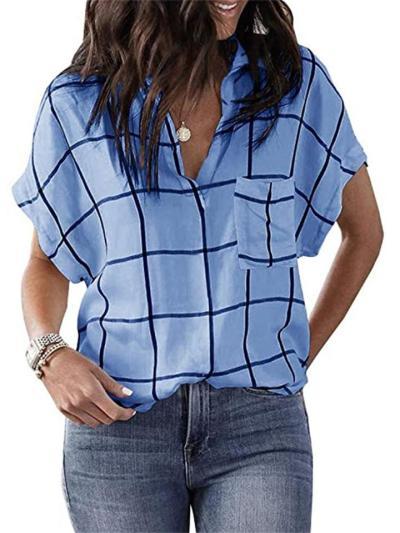 New Arrival Plaid Print Pocket V-Neck Short Sleeve T-Shirt