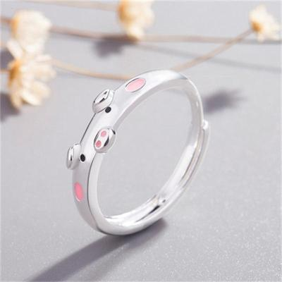 Opening Adjustable Pig Animal Pattern Ring