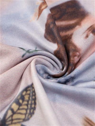 Butterfly Print Round Neck Long Sleeve Bodysuit