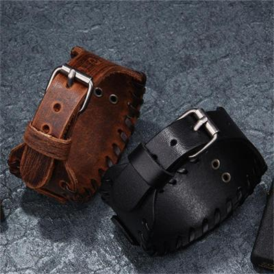 Unisex Retro Compass Viking Leather Strap Bracelet