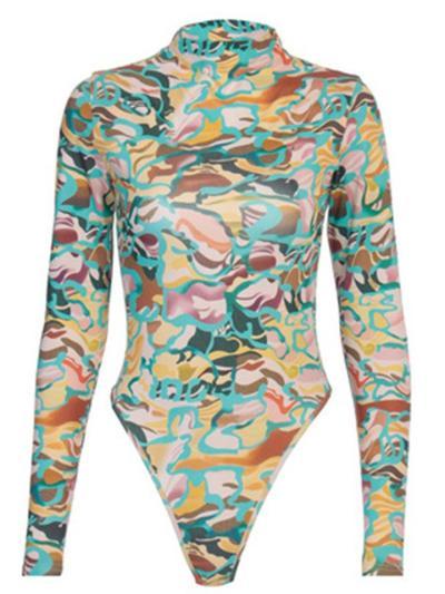 Round Neck Backless Print Bodysuit