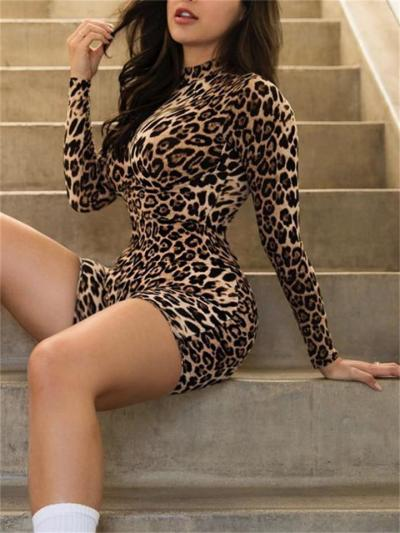 New Arrival Sexy High Collar Long Sleeve Print Jumpsuit