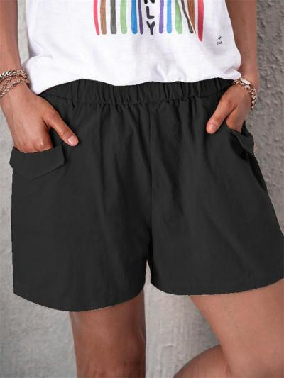 Relaxed Solid Color Linen Pockets Shorts