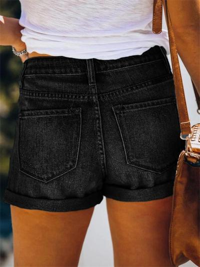 Stretch Mid-Rise Ripped Denim Shorts