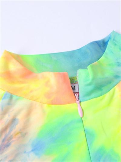 Casual Wear 2 Piece Set Zipper Long Sleeve Print Tops + Print Slim Fit Pants