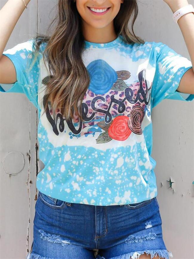 Casual Round Neck Short Sleeve Loose Print T-Shirt