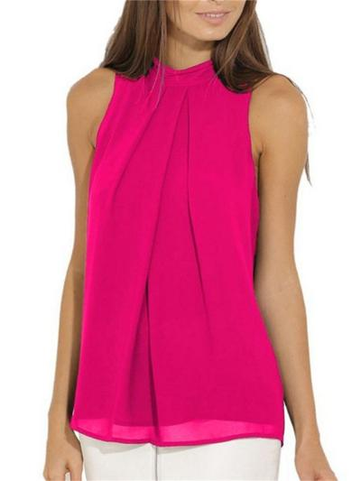 Casual Round Neck Solid Color Sleeveless Chiffon T-Shirt