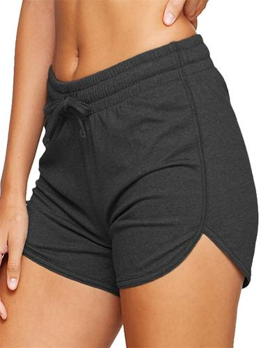 Solid Color Elastic Drawstring Irregular Shorts