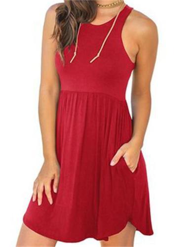 Round Neck Sleeveless Vest Pocket Solid Color Dress