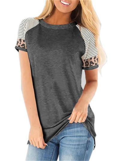 Striped Leopard Print Short Sleeves T-Shirt