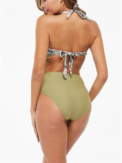 Sexy Print Backless Slim Bikini Set