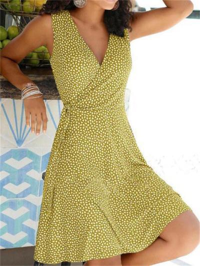 New Arrival Casual Print V Neck Sleeveless Dress