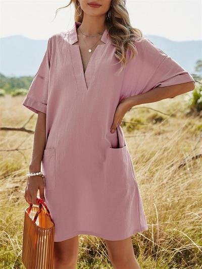 Pure Color V-Neck Casual Loose Short Sleeve Dress