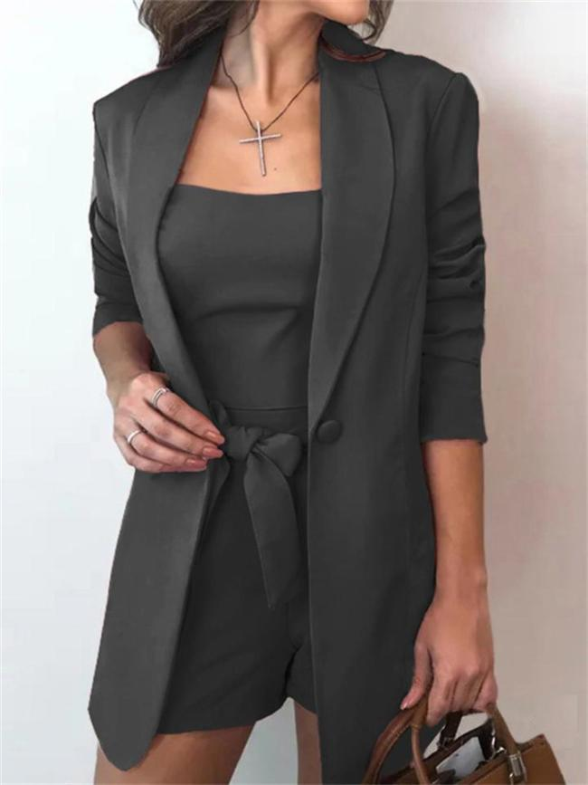 Three-Piece Set Of Solid Color Vest Suit Jacket And Fashionable High-Waist Shorts