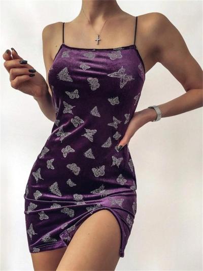 Butterfly Print Sexy Sleeveless Dress