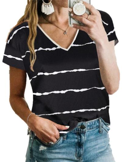 Casual Loose Striped v-Neck Short-Sleeved t-Shirt