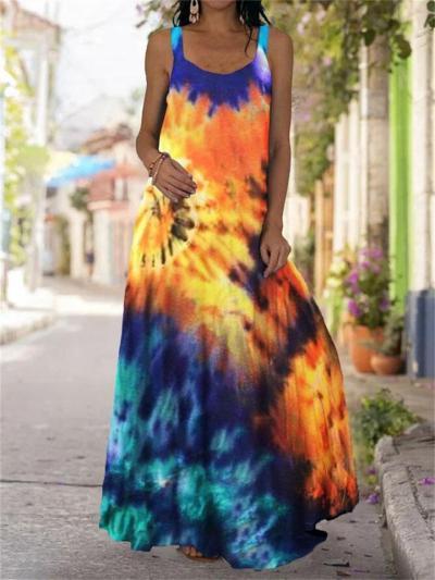 Slim-Fit Sleeveless Butterfly Print Dress