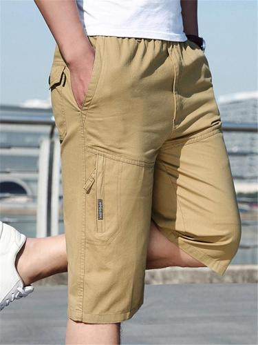 Mens Casual Breathable Straight Pure Color Comfy Cargo Cropped Pants