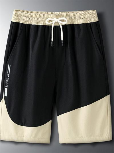 Mens Casual Patchwork Loose Sports Knee Shorts