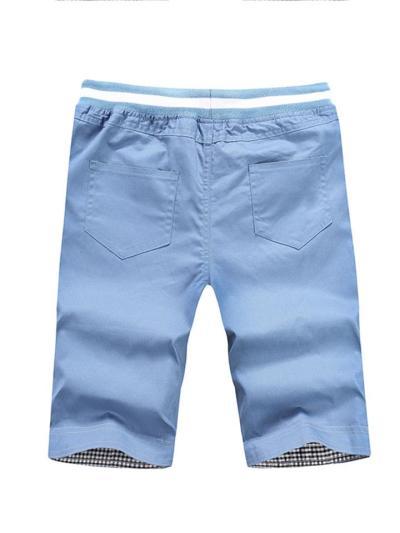 Mens Casual Cotton Drawastring Elastic Waist Shorts