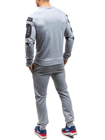 Regular Fit 2 Piece Set Round Neck Long Sleeve Print Sweatshirt + Drawstring Pants