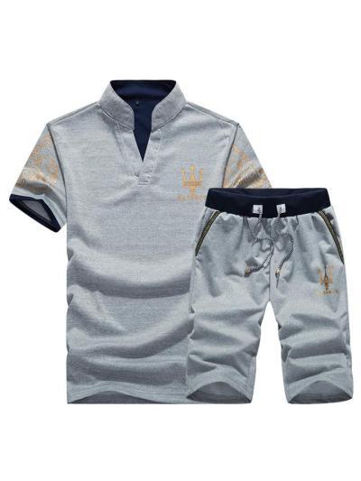 Casual Breathable Print Short Sleeved T-Shirts+Shorts