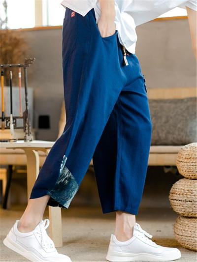 Mens Casual Loose Linen Print Cropped Trousers