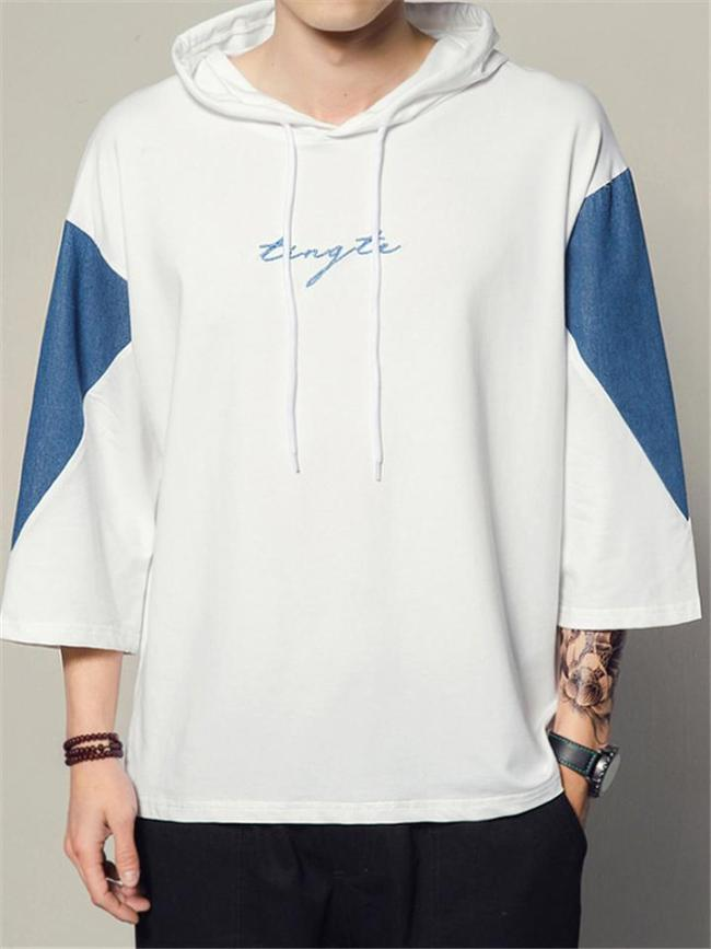 Mens Loose Patchwork Casual Drawstring Hooded T-Shirts