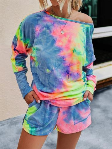 Leisure Wear 2 Piece Set Round Neck Long Sleeve Multicolor Tie-Dyed Print Top + Drawstring Shorts
