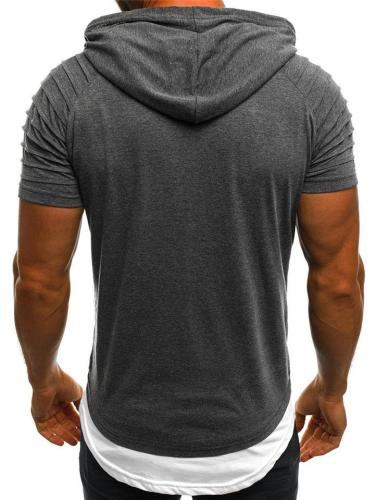 Regular Fit Front Pouch Pocket Layered Detailing Short Sleeve Lightweight Drawstring Hooded Tops