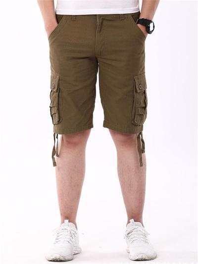 Mens Casual Comfy Loose Cargo Knee Pants