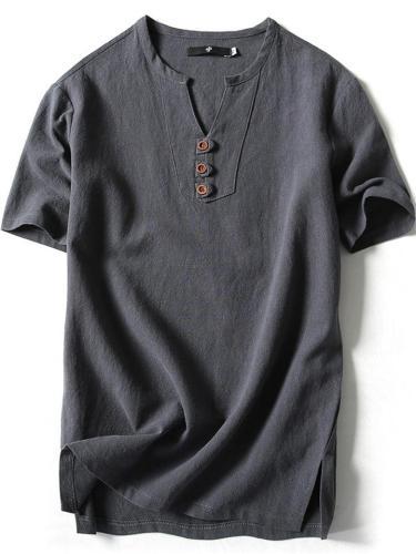 Vintage Comfy Casual Cotton&Linen Short Sleeve T-Shirts