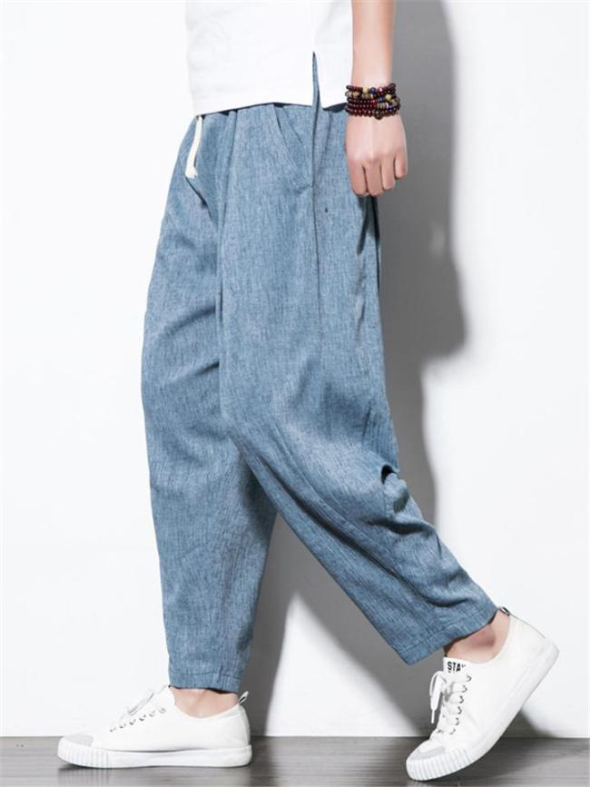Mens Casual Loose Breathable  Pure Color Ankle Pants