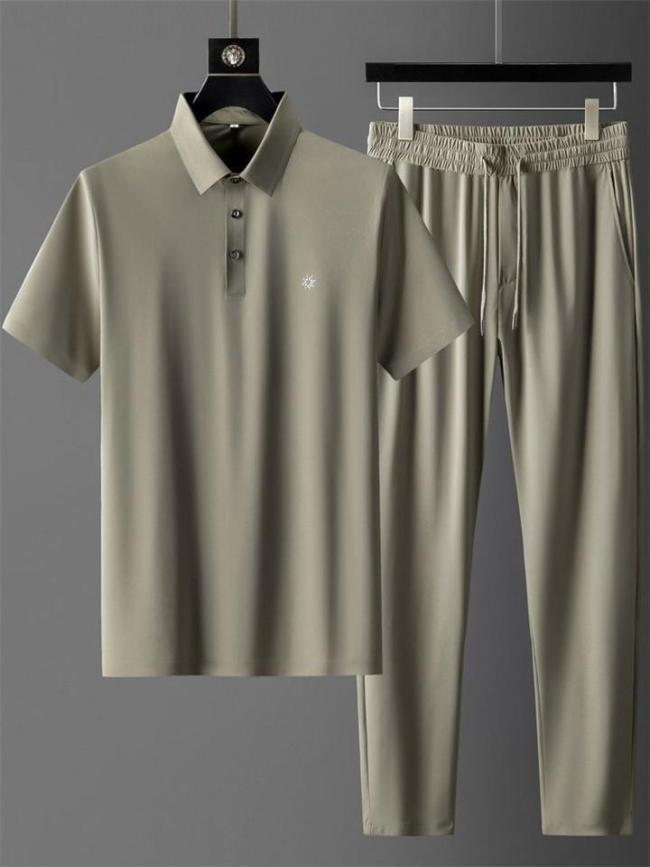 Mens Casual Pure Color Workout Shirts+Pants