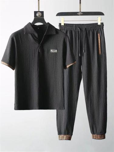 Mens Casual Vintage Pure Color Workout Shirts+Pants