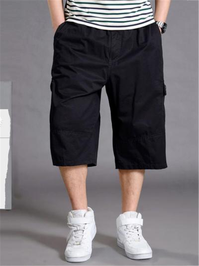 Mens Loose Stitching Pure Color Cropped Sweatpants