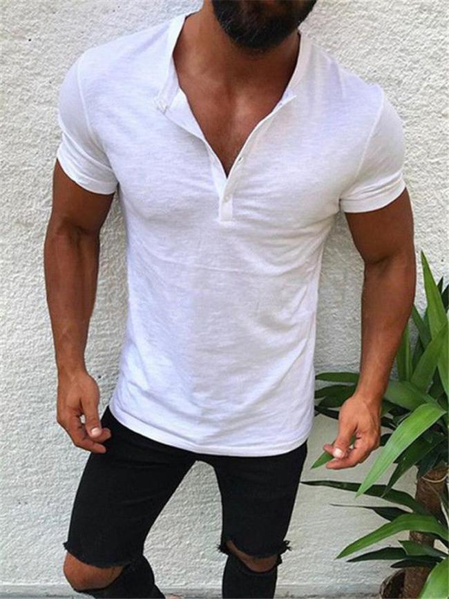 Regular Fit Solid Color Straight Silhouette Front Button Fastening Short Sleeve Pullover Tops