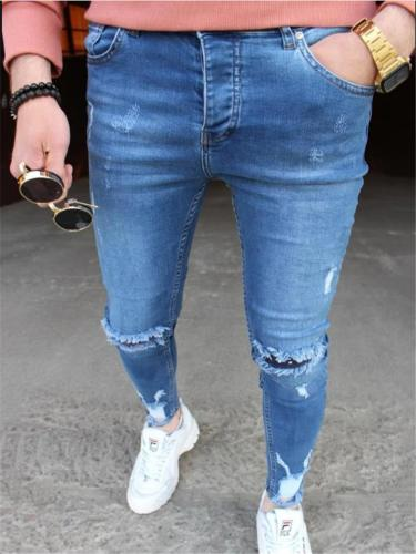 Slightly-Stretchy Ripped Design Classic Pocket Skinny Washed Ankle Jeans